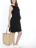 Maternity Shift Party Bow Details Dress - Black casual