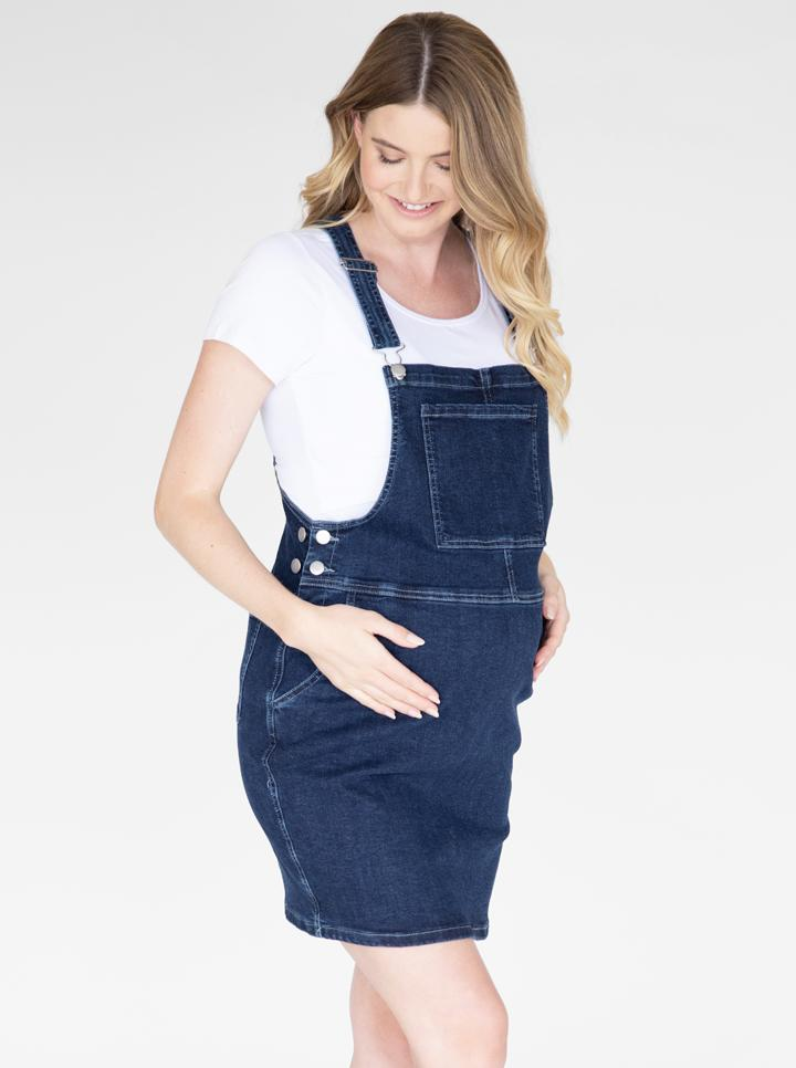 Maternity and Nursing Denim Pinafore front