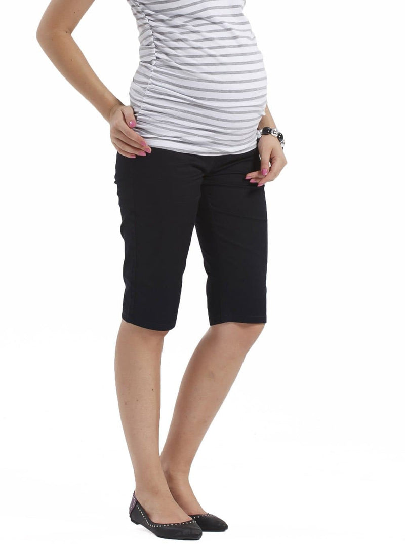 Maternity Cotton Knee Shorts in Black - Angel Maternity - Maternity clothes - shop online