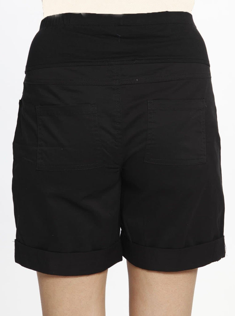 Cotton Maternity Summer Shorts in Black