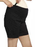 Cotton Maternity Summer Shorts in Black stretchy pregnancy short
