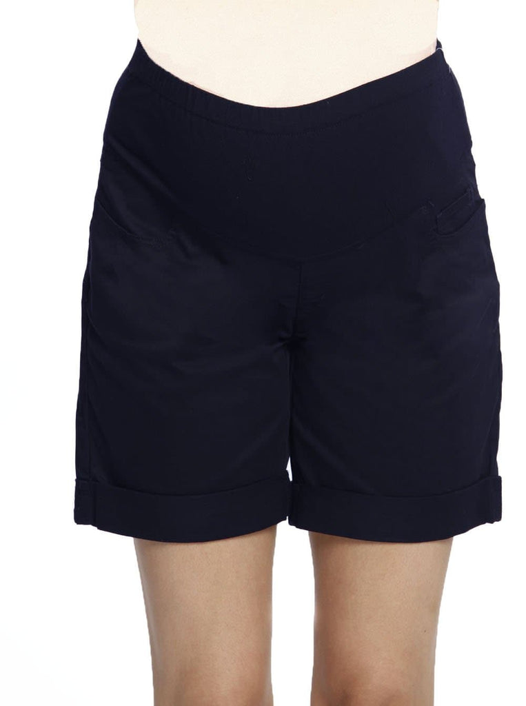Cotton Maternity Summer Shorts in Navy