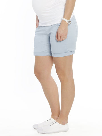 Maternity Linen High Waist Shorts in Dark Navy