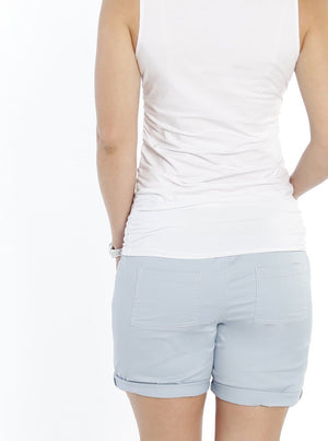 Maternity High Waist Cotton Shorts - Light Blue - Angel Maternity - Maternity clothes - shop online