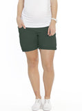 Maternity High Waist Cotton Shorts - Bottle Green - Angel Maternity - Maternity clothes - shop online