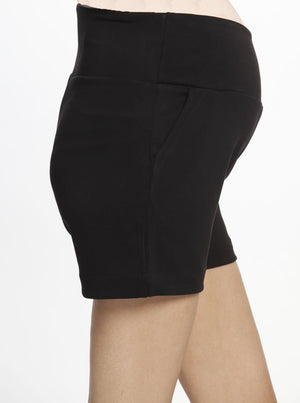 Maternity Soft Ponte Shorts - Black maternity summer short
