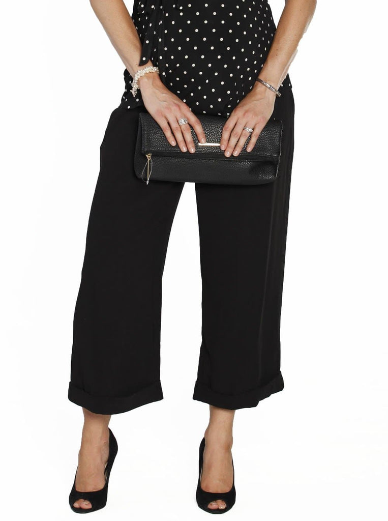 Angel Maternity Wide Leg Pants - Black - Angel Maternity - Maternity clothes - shop online