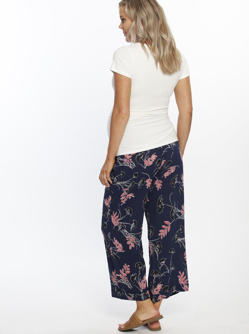 Maternity Wide Leg Lounge Pants - Blue Print
