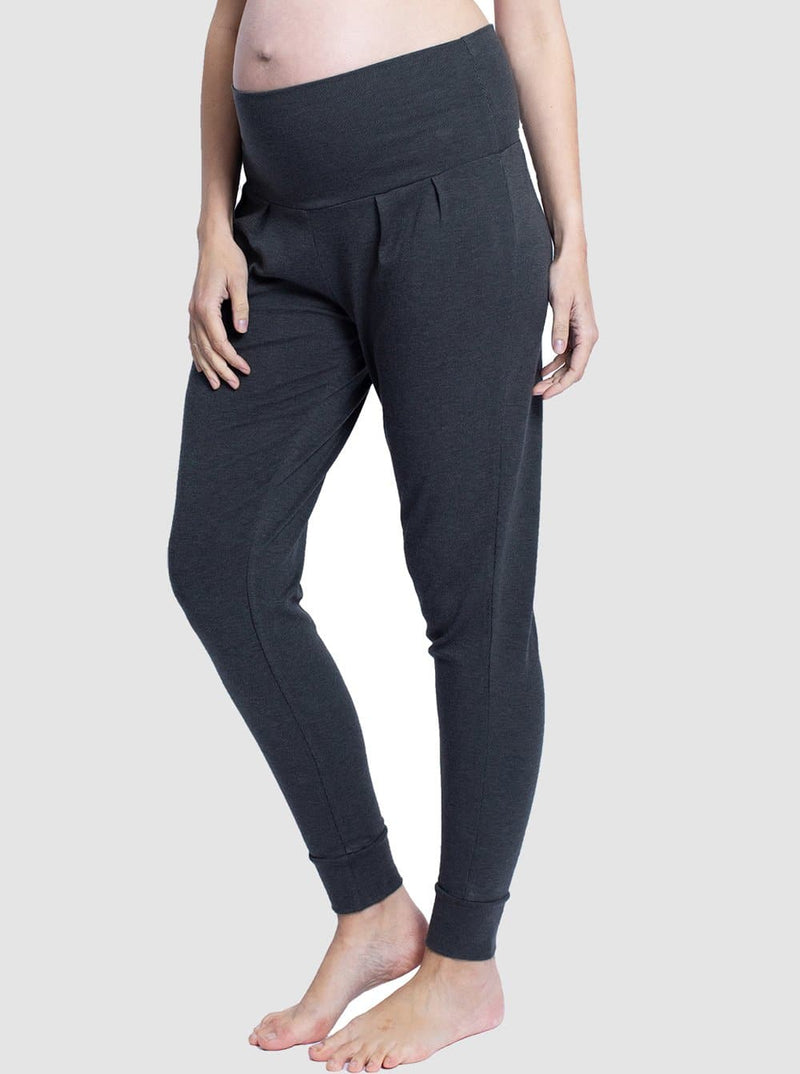 Maternity Comfortable Stretchy Tapered Pants - Dark Grey