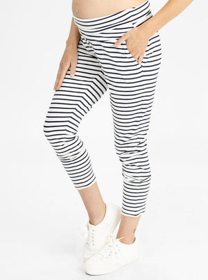 Maternity High Waist Pants in Navy Stripes