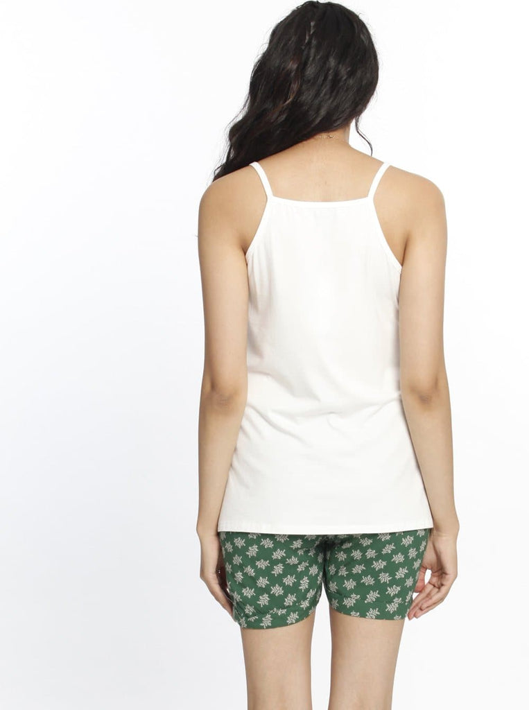 Nursing Summer Pyjama Sleepwear Set - White & Green Print