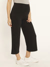 Maternity Wide Leg Bamboo Pants in Dark Charcoal - pregnancy