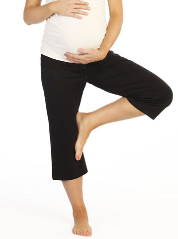 Maternity Cotton Knee Shorts in Black
