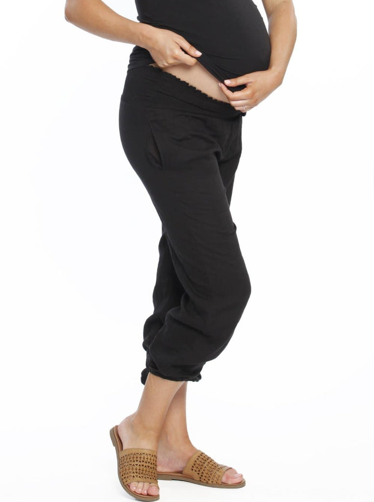 Maternity Comfortable Summer Cotton Relax Pants - Black maternity pants