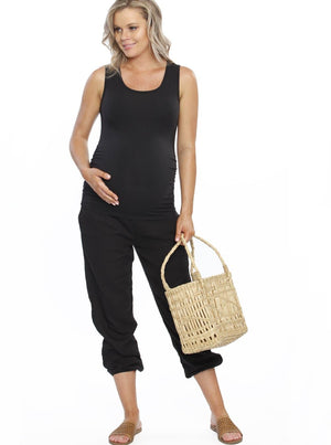 Maternity Comfortable Summer Cotton Relax Pants - Black cheesecloth pregnancy shorts