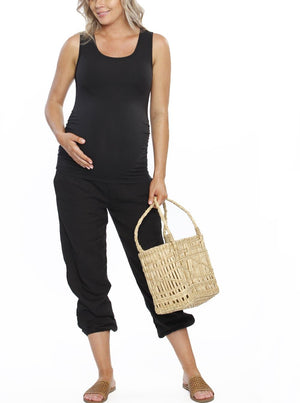 Maternity Comfortable Summer Cotton Relax Pants - Black