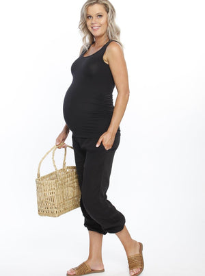 Maternity Comfortable Summer Cotton Relax Pants - Black pregnancy outfit