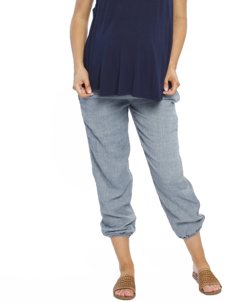 Maternity Comfortable Summer Cotton Relax Pants - Blue maternity pants