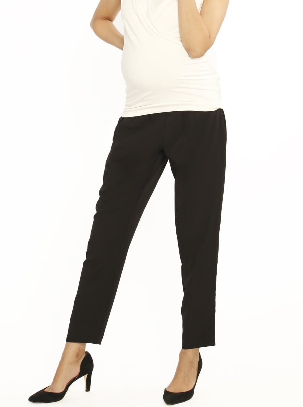 Maternity Tie Waist Drawstring Work Pants - Black