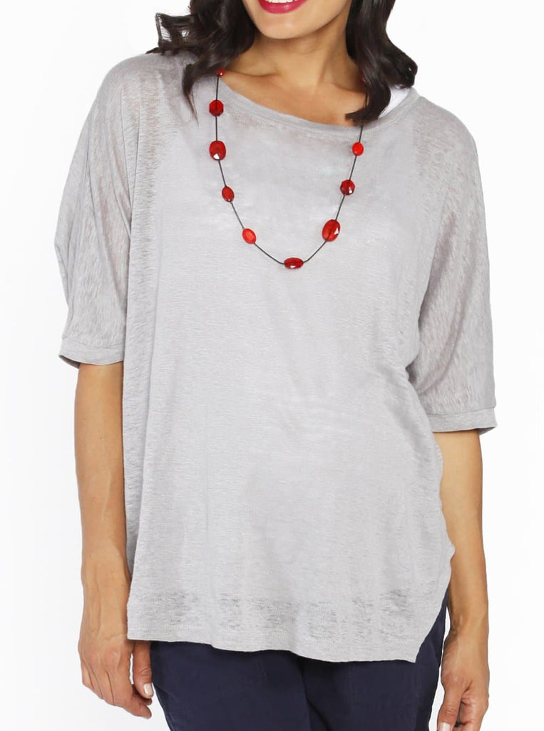 Maternity Double Layer Nursing Top - Grey & White