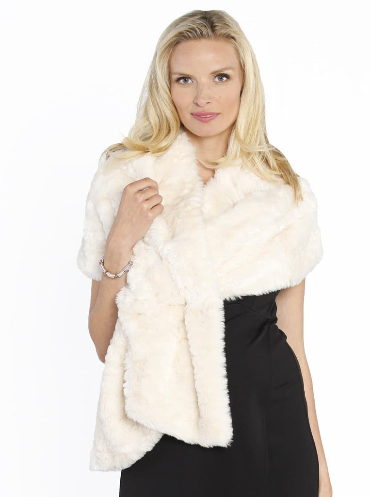 stili di grande varietà prezzo incredibile professionale più votato Luxe Faux Fur Stole Wrap - Perfect for Parties - Ivory Champagne