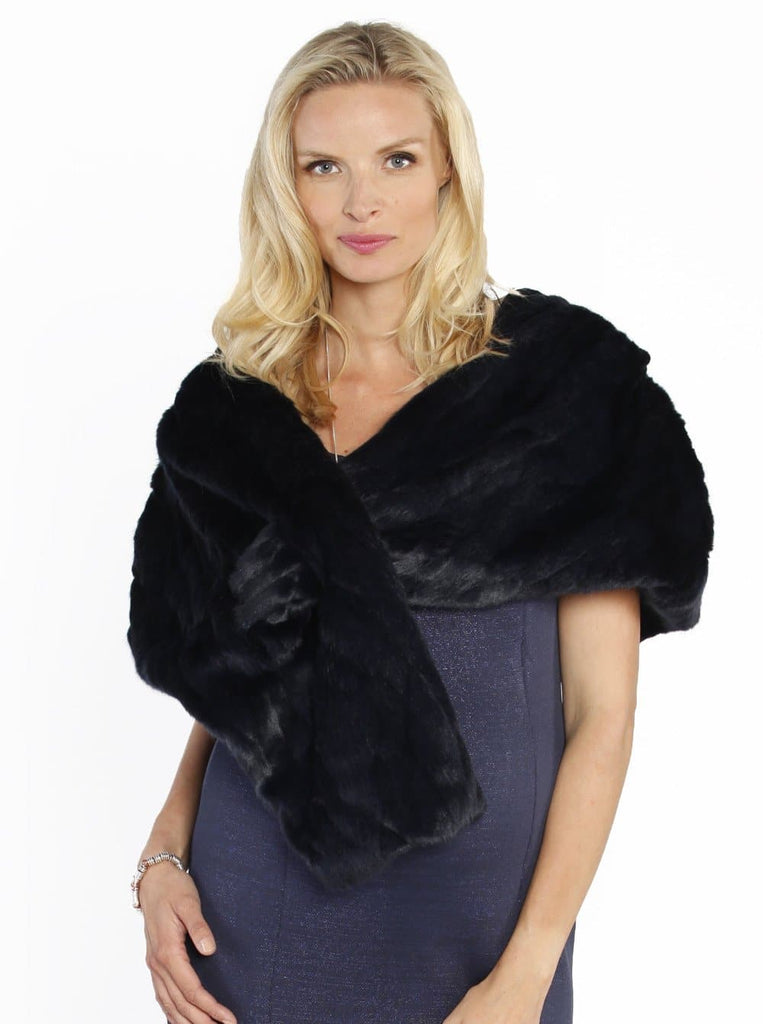 Luxe Faux Fur Stole - Perfect for Parties - Midnight Blue