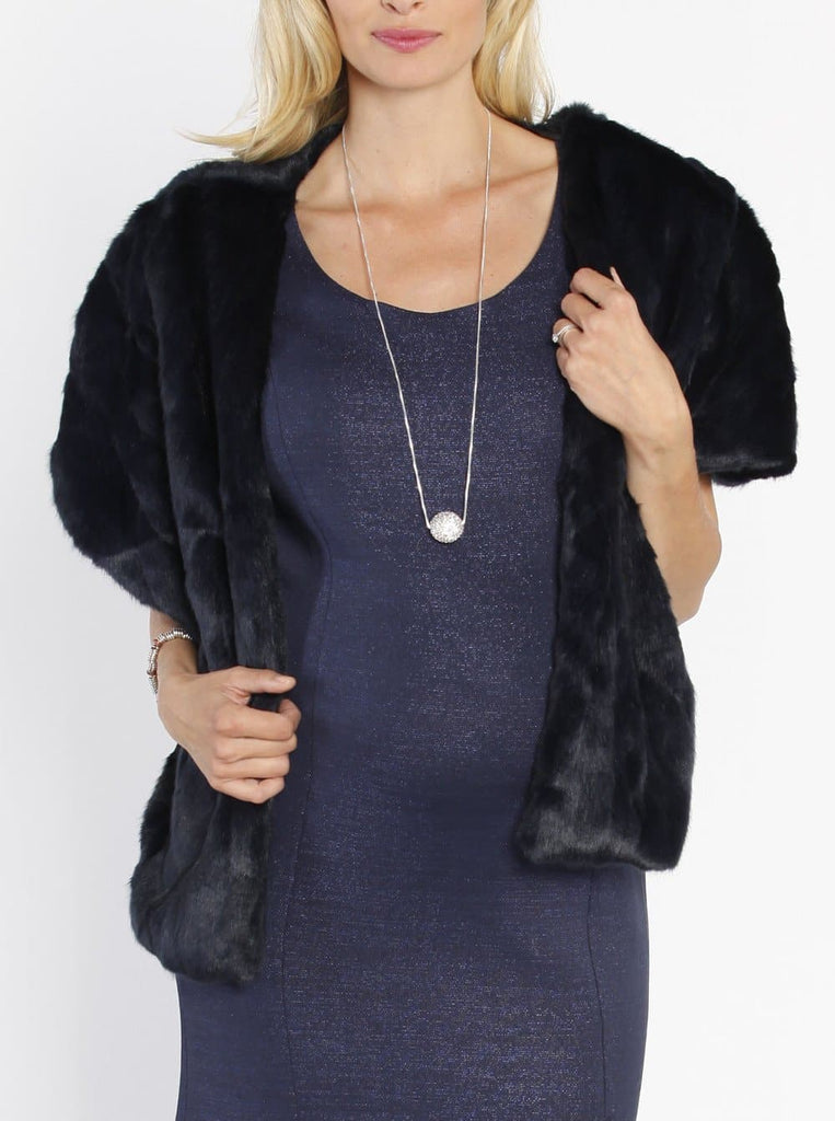 Luxe Faux Fur Stole - Perfect for Parties - Midnight Blue - Angel Maternity - Maternity clothes - shop online