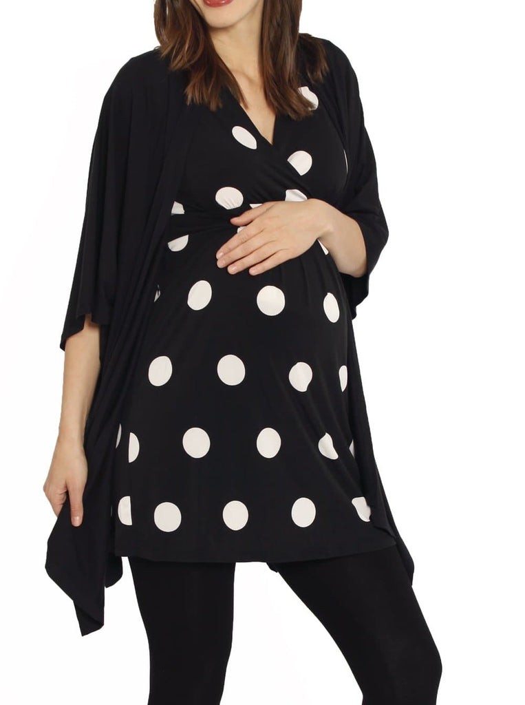 Maternity Long Waterfall Cape in Black fashion maternity top
