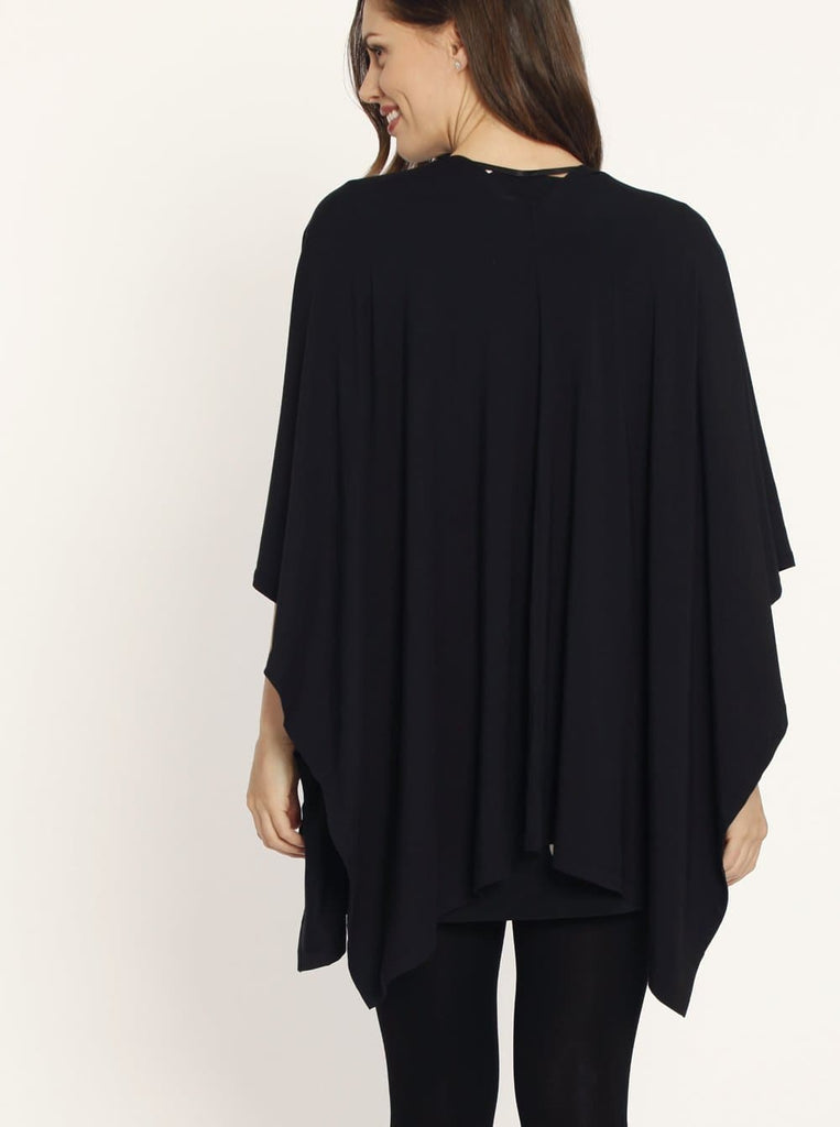 Maternity Long Waterfall Cape in Black