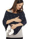 5 Ways Poncho - Navy Print - baby feeding cover