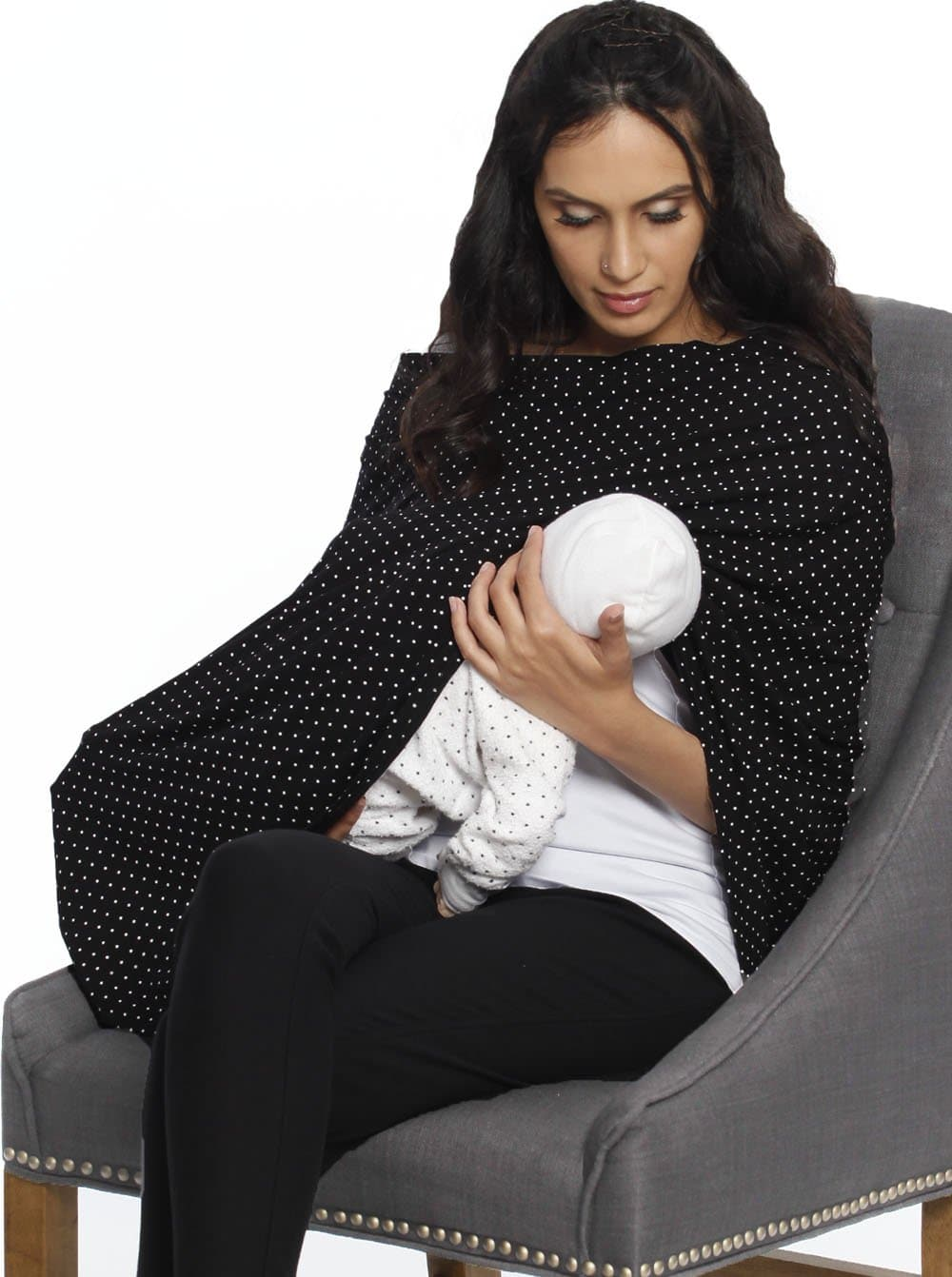 5 Ways Feeding Poncho Cover - Black & White Spots