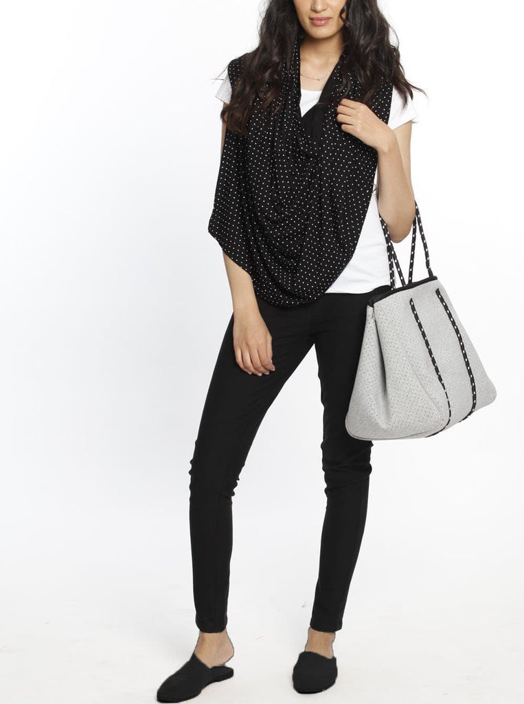 5 Ways Feeding Poncho Cover - Black & White Spots fashion shawl