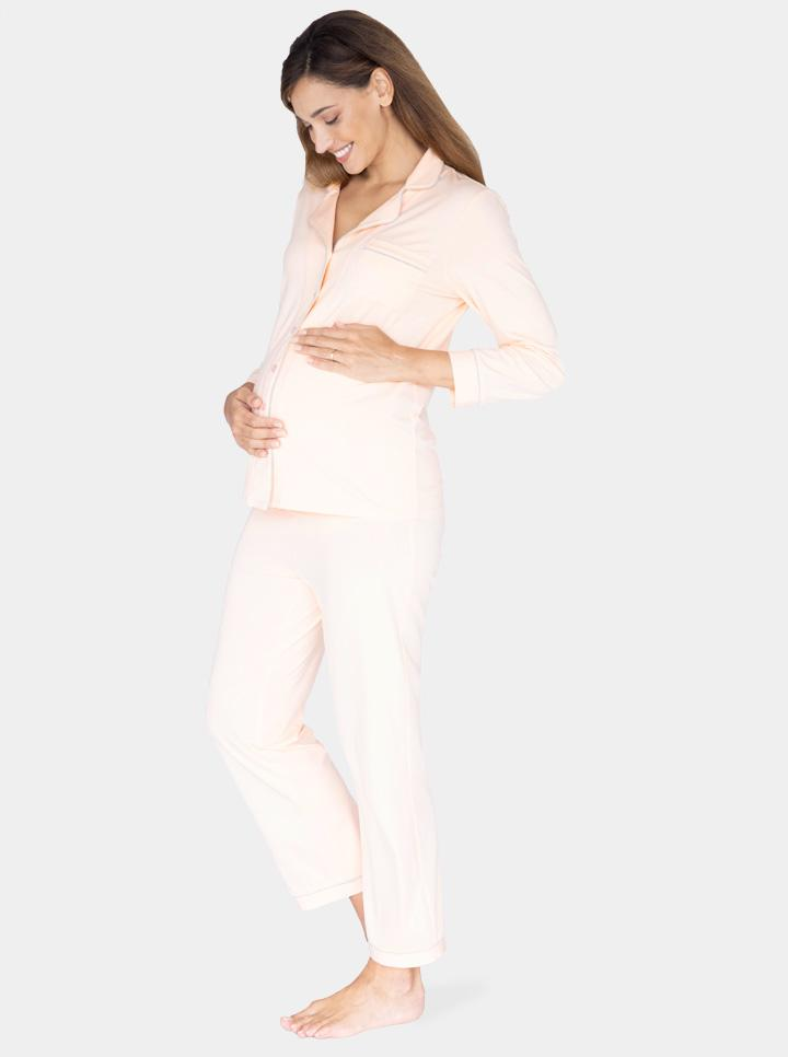 Maternity and Nursing Long Sleeve Pyjama Set in Peach
