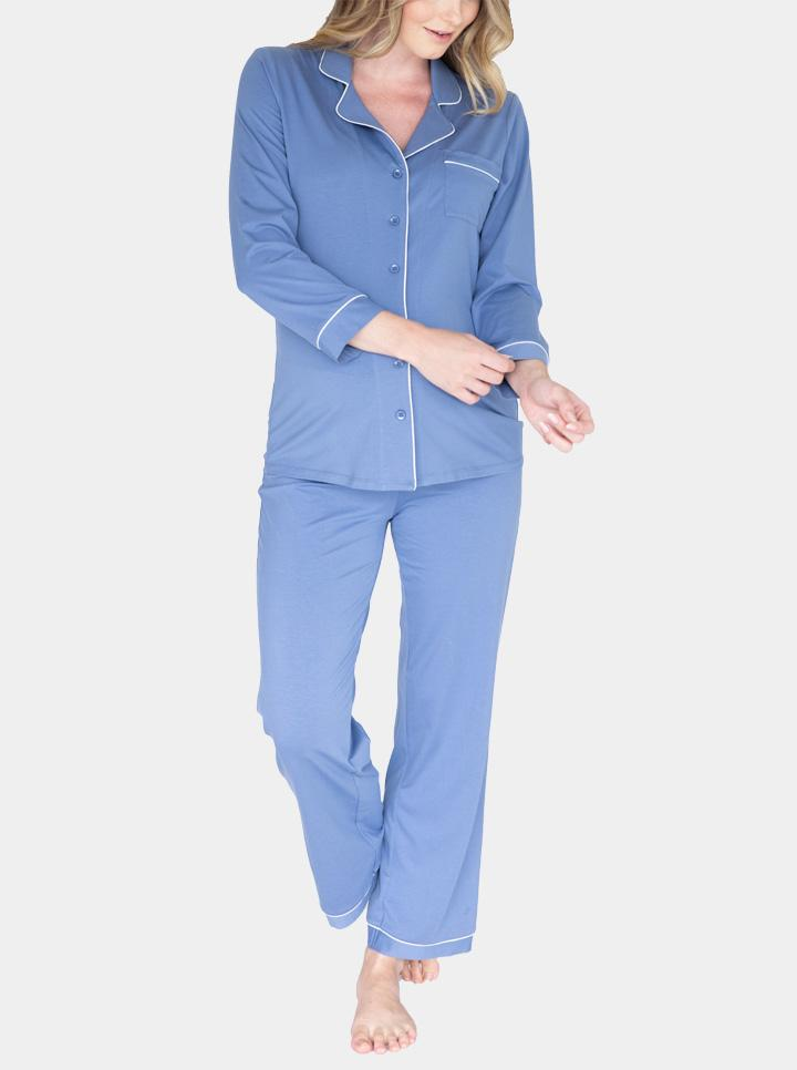 Maternity and Nursing Long Sleeve Pyjama Set in Blue