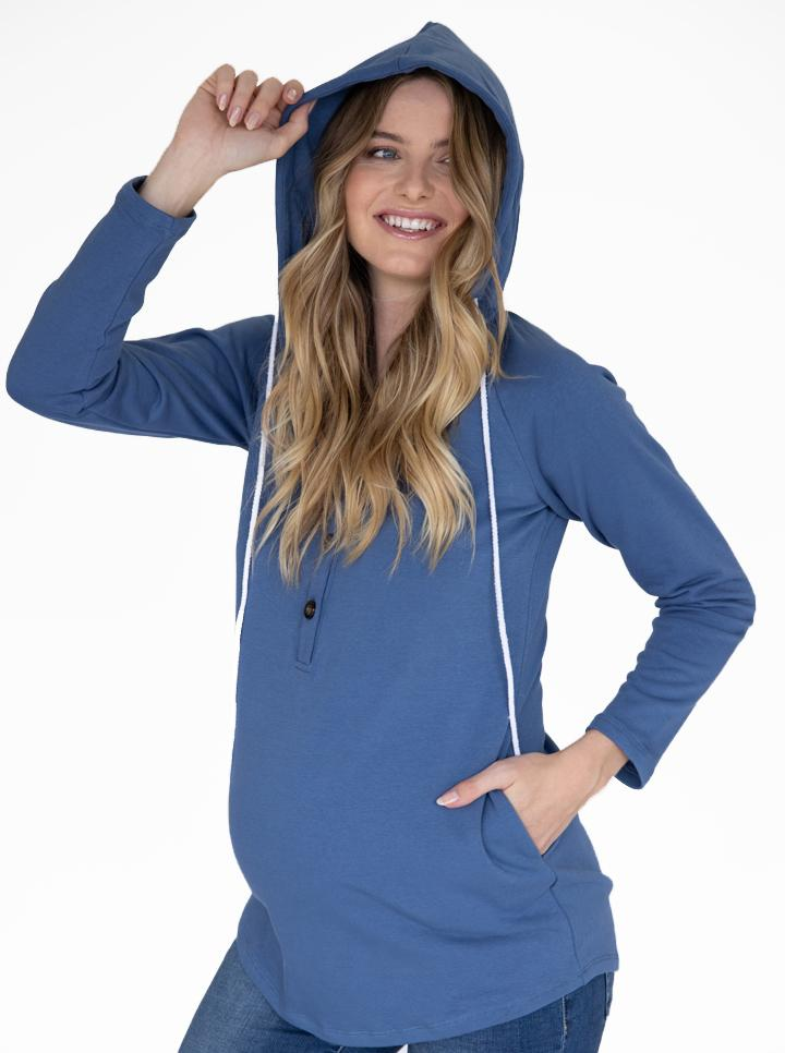 Maternity & Nursing Hoodie Breastfeeding Jumper Top - Blue