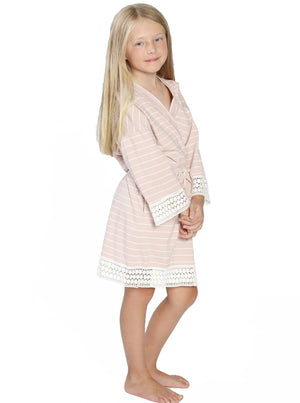 Ruby Joy Daughter Robe - Light Pink Stripes