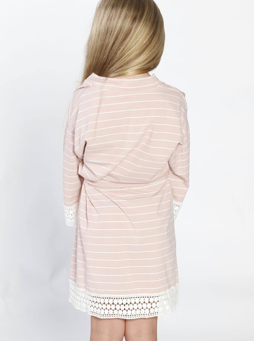 Ruby Joy Daughter Robe - Light Pink Stripes back