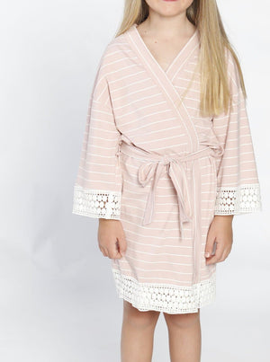 Ruby Joy Daughter Robe - Light Pink Stripes front