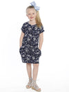 Mini Me Drawstring Dress - Floral Print