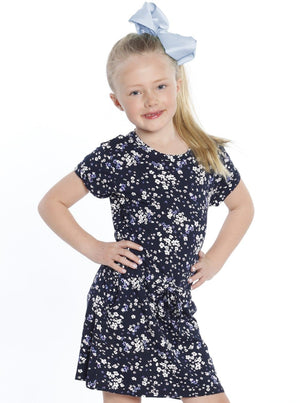 Mini Me Drawstring Dress - Floral Print front