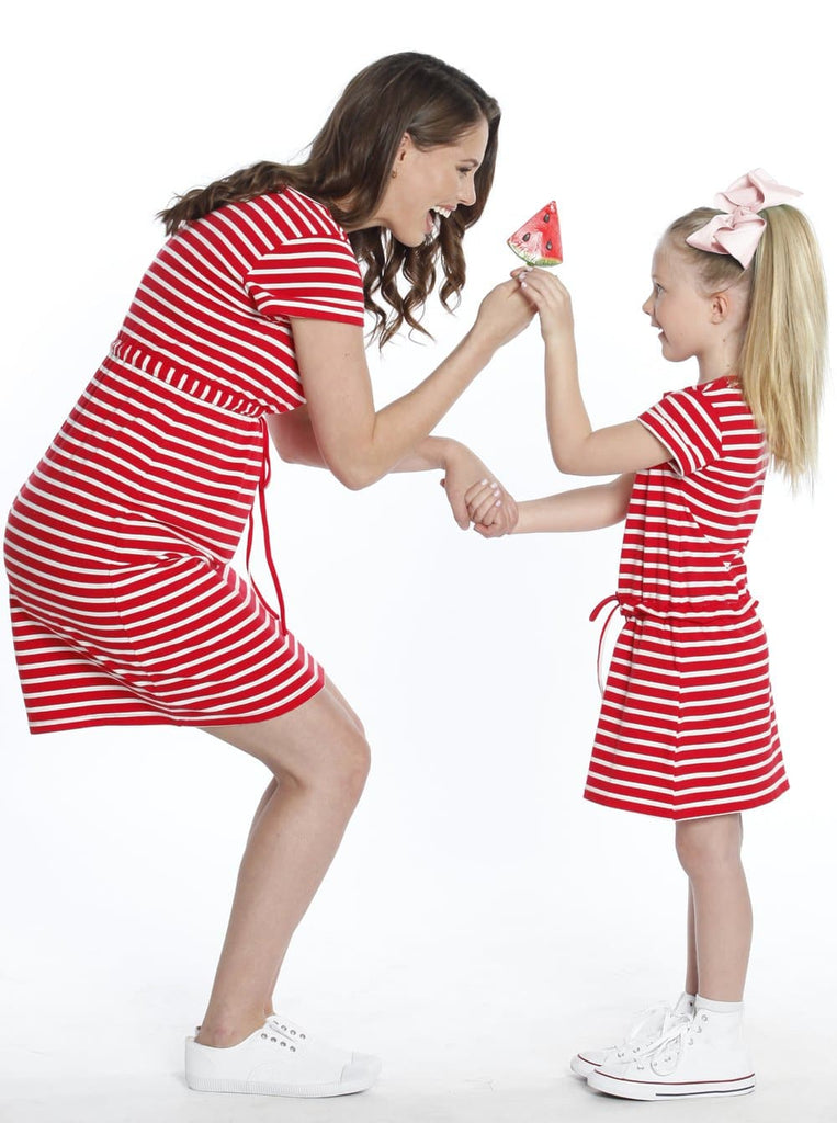 TDD - The Daughter Drawstring Dress - Red & White Stripes