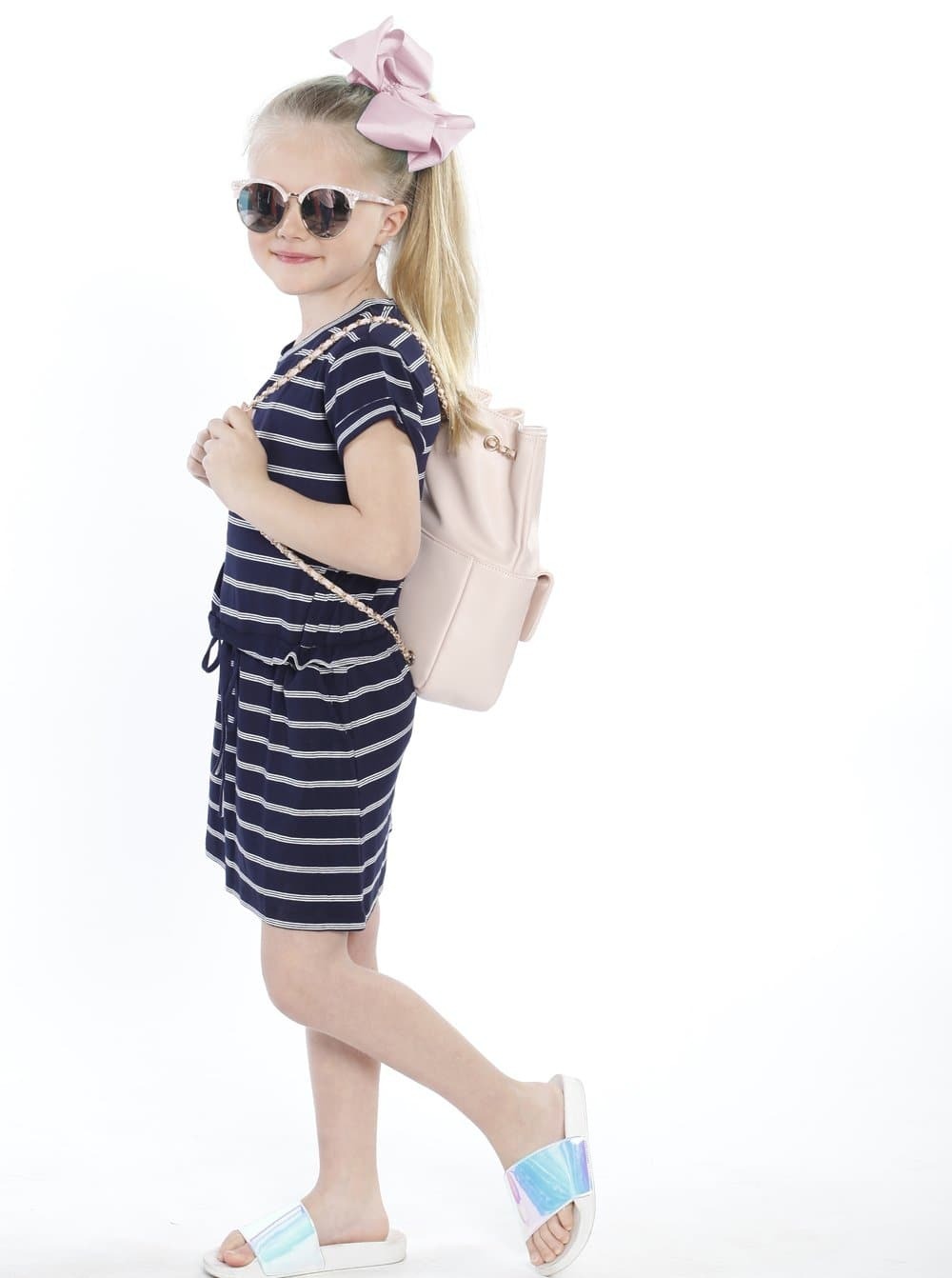 TDD - The Daughter Drawstring Dress - Navy & White Stripes - Angel Maternity - Maternity clothes - shop online
