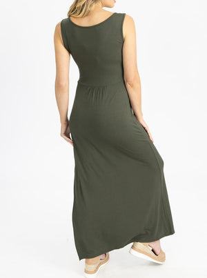 Maternity and Nursing  Maxi Dress in Khaki back