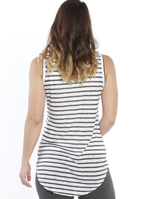 Breastfeeding Double Lining Nursing Tank Top - Grey Stripes - Angel Maternity - Maternity clothes - shop online