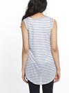 Linen Nursing Top with Double Lining - Blue Stripes