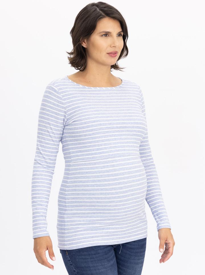 Maternity & Nursing Long Sleeve Cotton Top - Blue Stripe