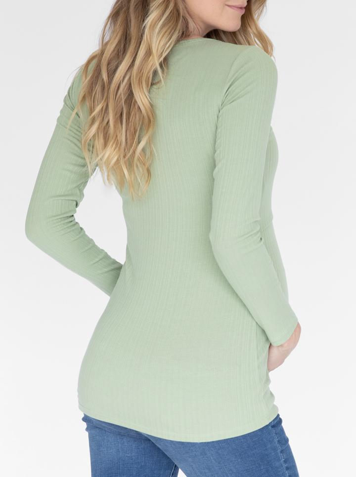 Long Sleeve Maternity & Nursing Cotton Top in Green back