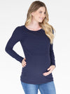 Long Sleeve Maternity & Nursing Cotton Top in Navy main