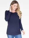 Long Sleeve Maternity & Nursing Cotton Top in Navy front