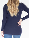 Long Sleeve Maternity & Nursing Cotton Top in Navy back
